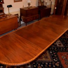 Three Pedestal Dining Table With Banding