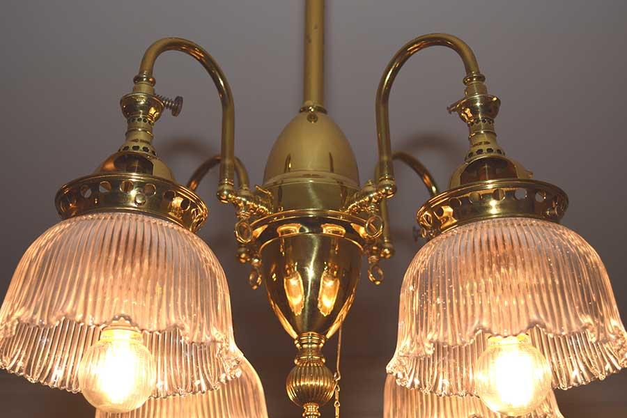 4 light Brass Gas Fixture