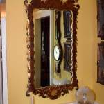 English Walnut and Gold Leafed Mirror