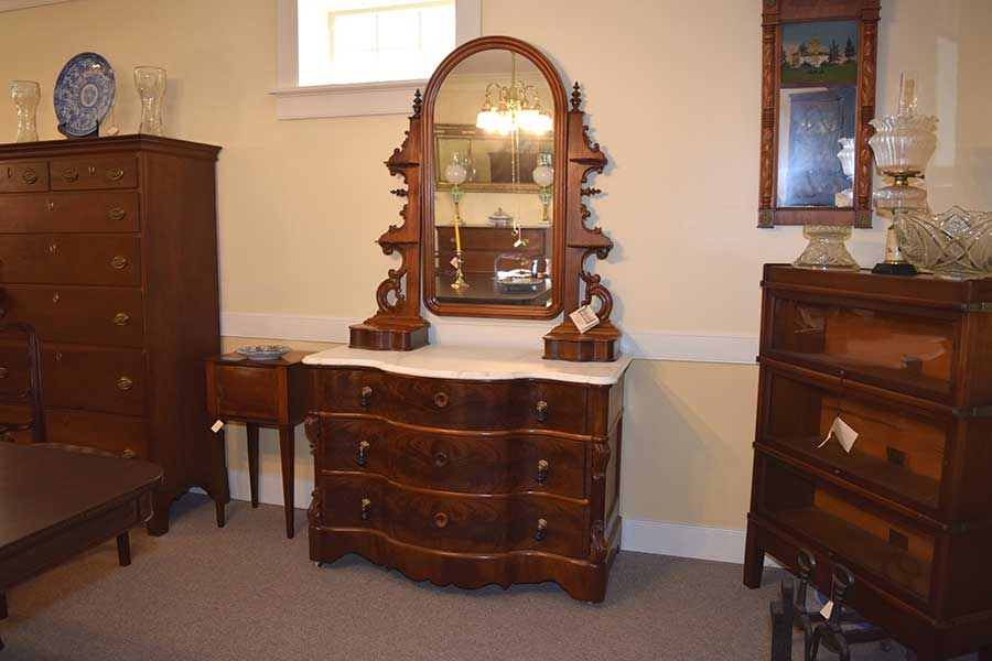 Flame Mahogany and Serpentine Chest
