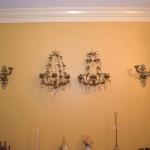 Ornate Pair of Brass Sconces