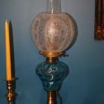 Pair of Blue Font Lamps