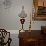 Pair of Cranberry Etched Lamps