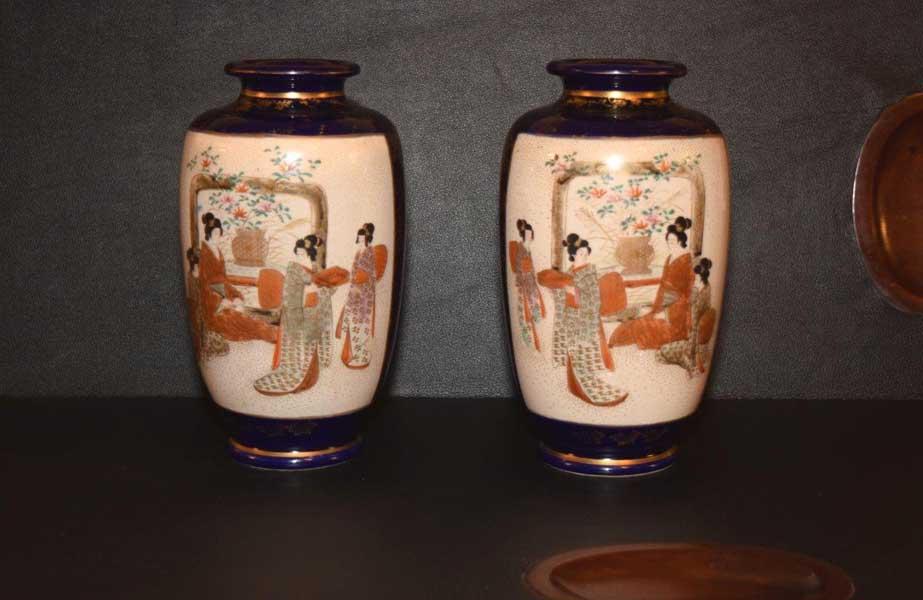 Pair of Ground Blue Vases