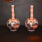 Pair of Imari Bottle Vases